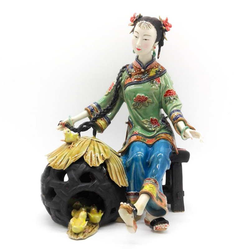 Китайская красивая женская Античная керамическая коллекция скульптур фарфоровая фигурка скульптура искусство Гостиная Кабинет офис реме