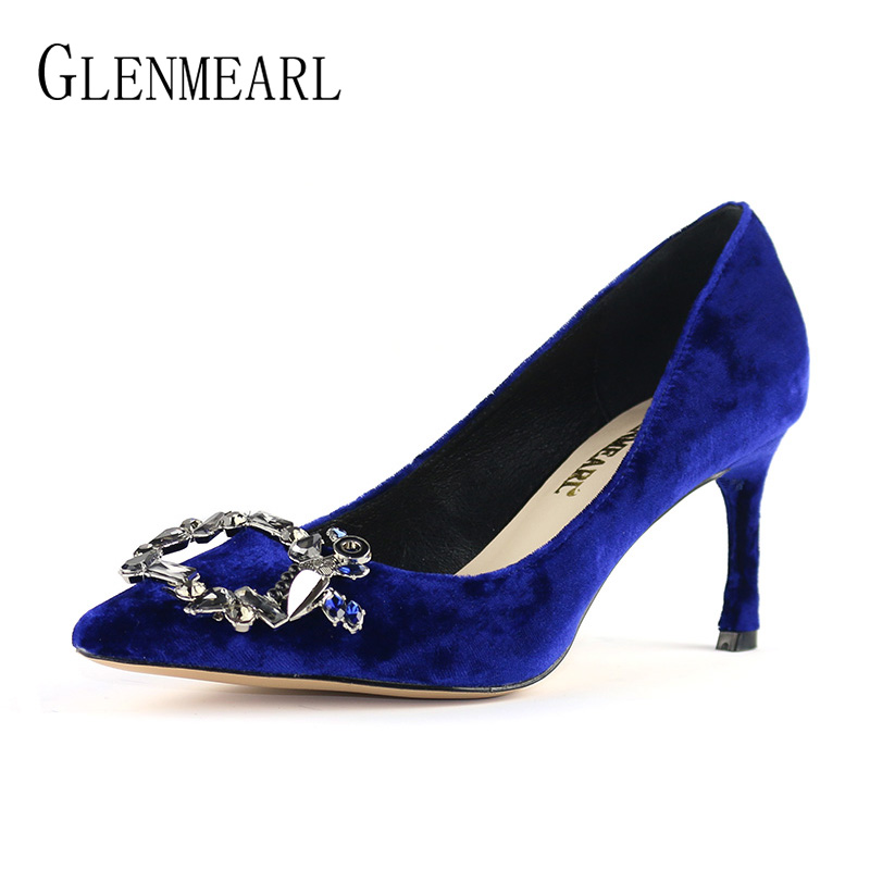 Genuine Leather Women Pumps High Heels Shoes Spring Brand Thin Heel Wedding Shoes Woman Pointed Toe Crystal Royal Blue Pumps DO lapolaka cow genuine leather mix color spring summer pointed toe women shoes pumps thin high heels shoes woman