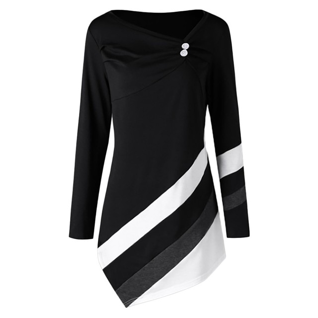 69f31845a53e78 ISHOWTIENDA Women Autumn Winter Blouse Plus Size Long Sleeve O-Neck Striped Blouses  Womens Tops and Blouses Ladies Clothing