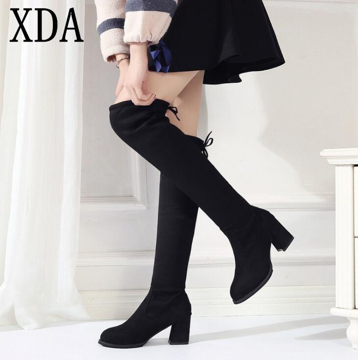 dc96971e82 A203 De Botas Negro Sexy Rodilla Altas Mujeres 40 La Encima Cabeza 35 Nieve  Las Redonda Mujer Invierno 2019 Tamaño Moda Zapatos ...
