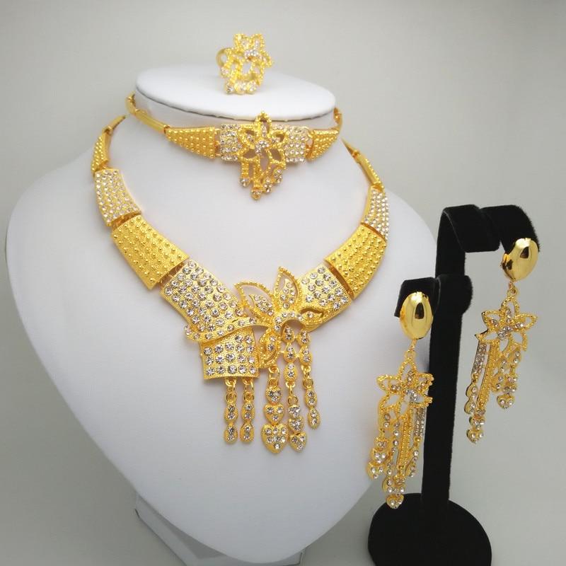 HOT Fashion wedding Dubai Africa Nigeria African Jewelry set Big Wedding Bride Jewelry sets 24 K Jewelry sets Kenya Jewelry Gift in Bridal Jewelry Sets from Jewelry Accessories