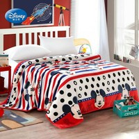 Soft Warm Red and Navy Blue Striped Mickey Mouse Bed Blanket Sleeping Covers Plush Throws for Children Bedspread