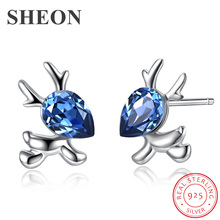 SHEON Christmas Earrings 925 Sterling Silver Cute Elk Stud With Blue Crystal for Women Jewelry Gift