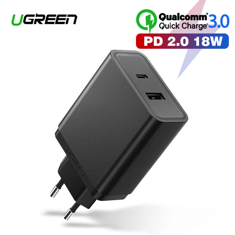 Ugreen 18W Tipe C PD Cepat USB Charger untuk iPhone X 8 X XR PD Cepat Charger 5V 2.4A Charger untuk Samsung Xiaomi Charger
