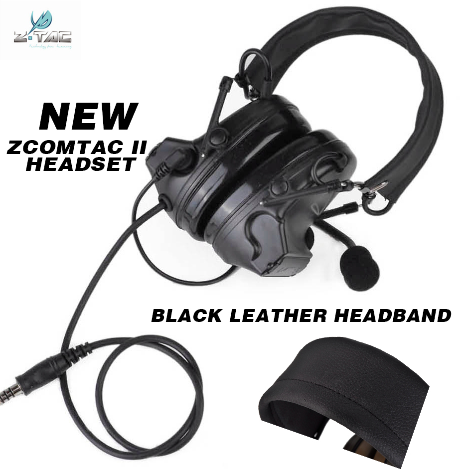 442838a21f6 NEW z-tactical comtac ii headset radio anti noise headphones with black  leather headhand for hunting Z041 BK