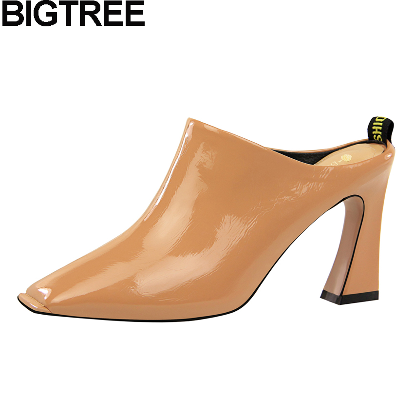 BIGTREE 2018 Sexy Fashion Square Toe Women Mules Slides Pumps Thick Block High Heels OL Career Slingback Wedding Bridal Shoes