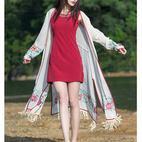 MISSFEBPLUM China Style Summer Cotton Linen Cardigans Ladies Long Sleeves Vintage Floral Embroidery Tassel Maxi Beach
