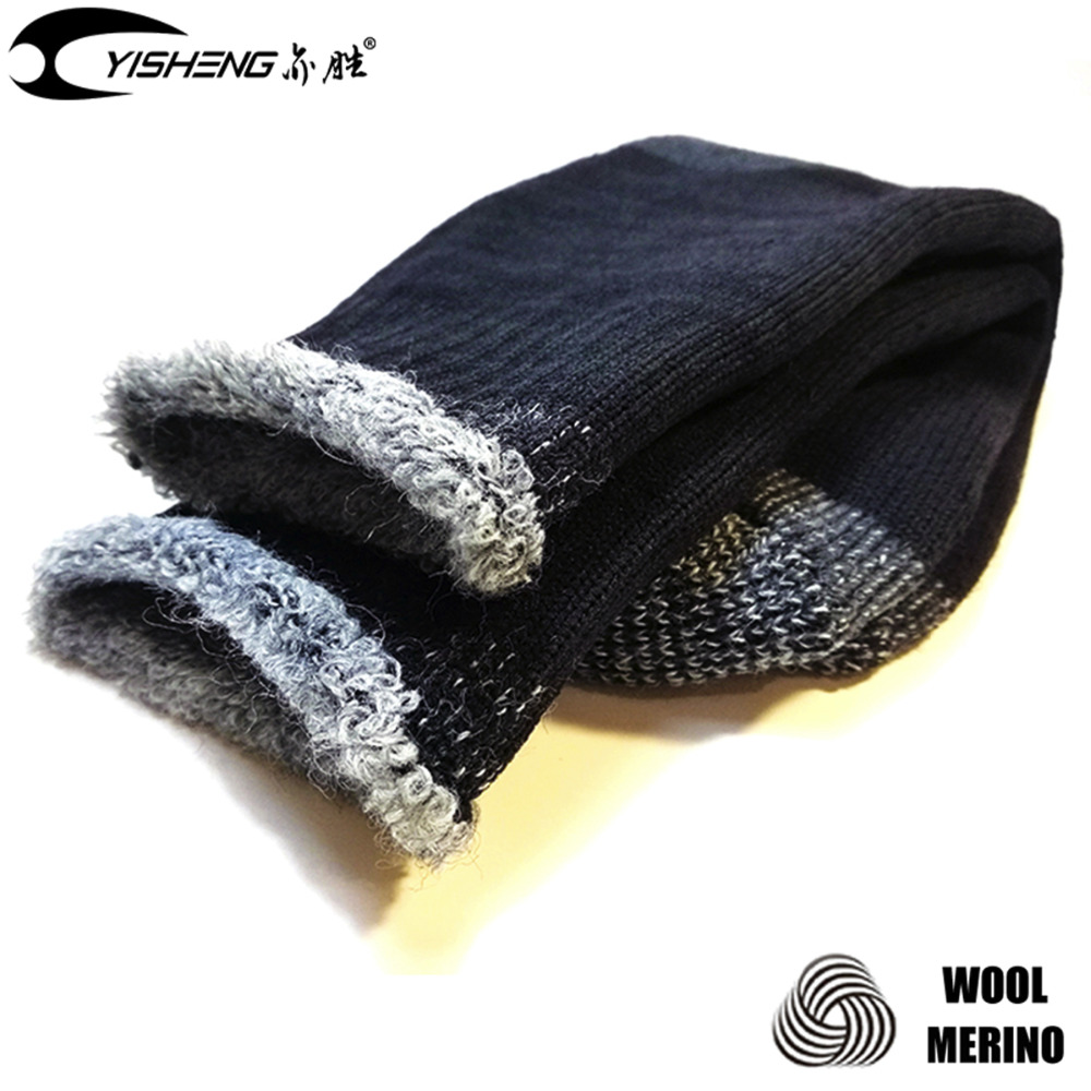 YISHENG Merino Wool Socks for Men Sports Skiing Camping Hiking Climbing Socks Full Terrry Support Warm High Quality