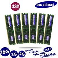 שניות שבבים DDR3 4GB 8GB 16GB 32GB ECC שרת זיכרון 1333 1600 1866MHz dimm REG ram תומך X58 X79 האם|RAMs|מחשב ומשרד -