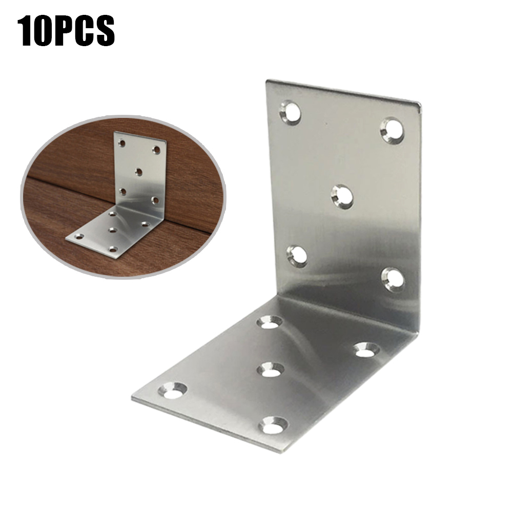 10 Pcs Corner Brace Iron L Type Right Angle Shelf Support Bracket Fastener for Furniture Cabinet @8 WWO66 5 packs 2 pcs 150mmx150mm shelf support corner brace joint right angle bracket
