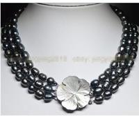 Women Gift Freshwater NATURAL 3 ROWS 9 10MM BLACK TAHITIAN CULTURED PEARL JEWELRY NECKLAd Beads Necklace