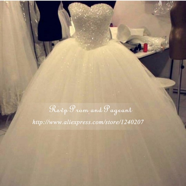Luxury Sparkly Sweetheart Ball Gown Ivory Wedding Dress Bling Beaded Crystals Floor Length Puffy