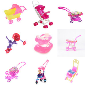 Dollhouse Furniture Mini Baby Walker Stroller Carriages Shopping Cart Dolls For Mini Dolls Children Girl Furniture Doll Kids Toy(China)