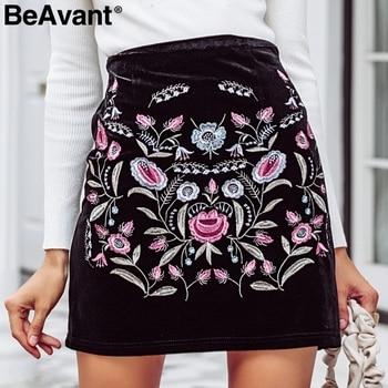 BeAvant hafty wysokiej talii spódnice kobiet dół elastyczna bodycon ołówek krótka spódnica kobiet Vintage mini spódnica zimowa 2018