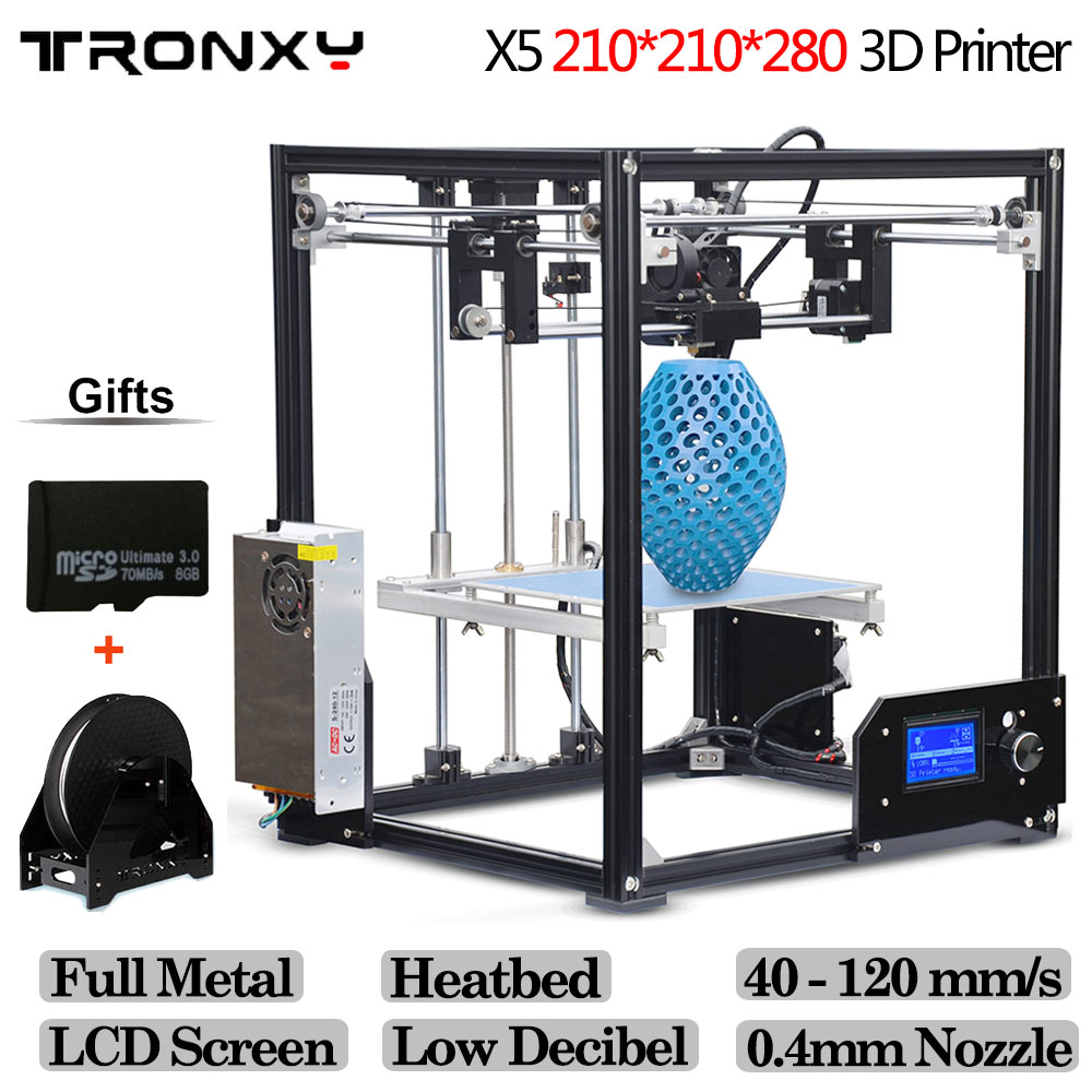 Tronxy X5 Aluminium Structure 210*210*210mm DIY 3D Printer Kit Rerap With 1 Roll Free 10m Filament 8GB SD Card As Gift lcd display diy 3d printer with one roll filament sd card lcd masking tape for free