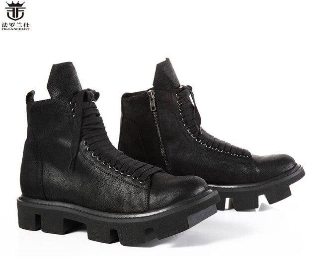 LANCELOT 2019 fashion men s black Leather boots High end cool Chelsea boots  thick heel horse fur men boots men winter shoes 4bfa47353690