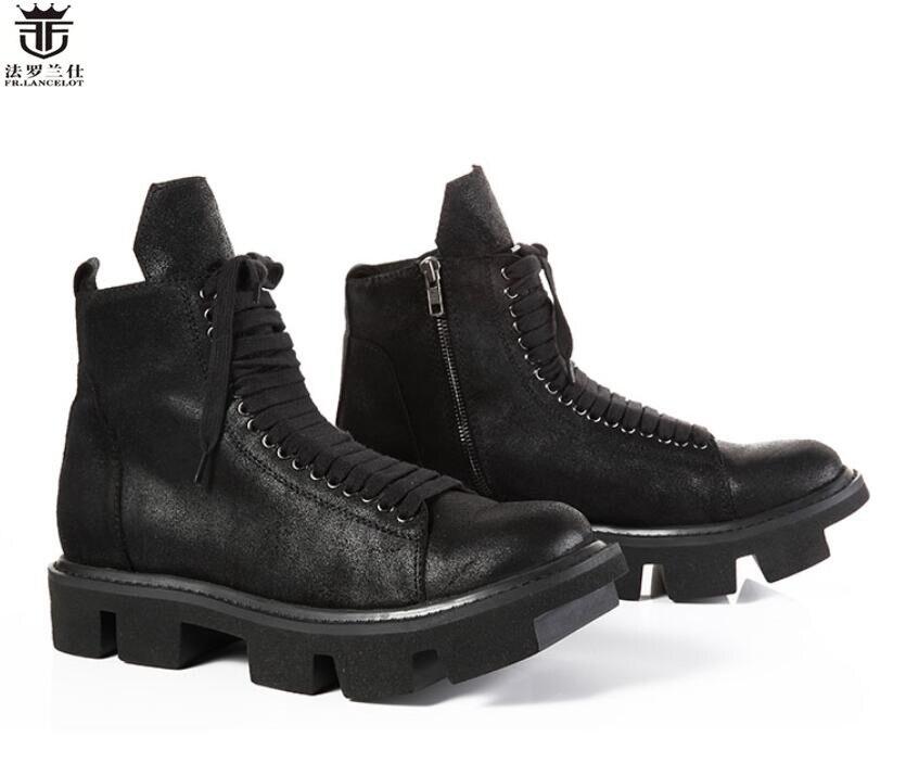 FR. LANCELOT 2019 mode hommes bottes en cuir noir haut de gamme cool Chelsea bottes talon épais fourrure de cheval hommes bottes hommes chaussures d'hiver