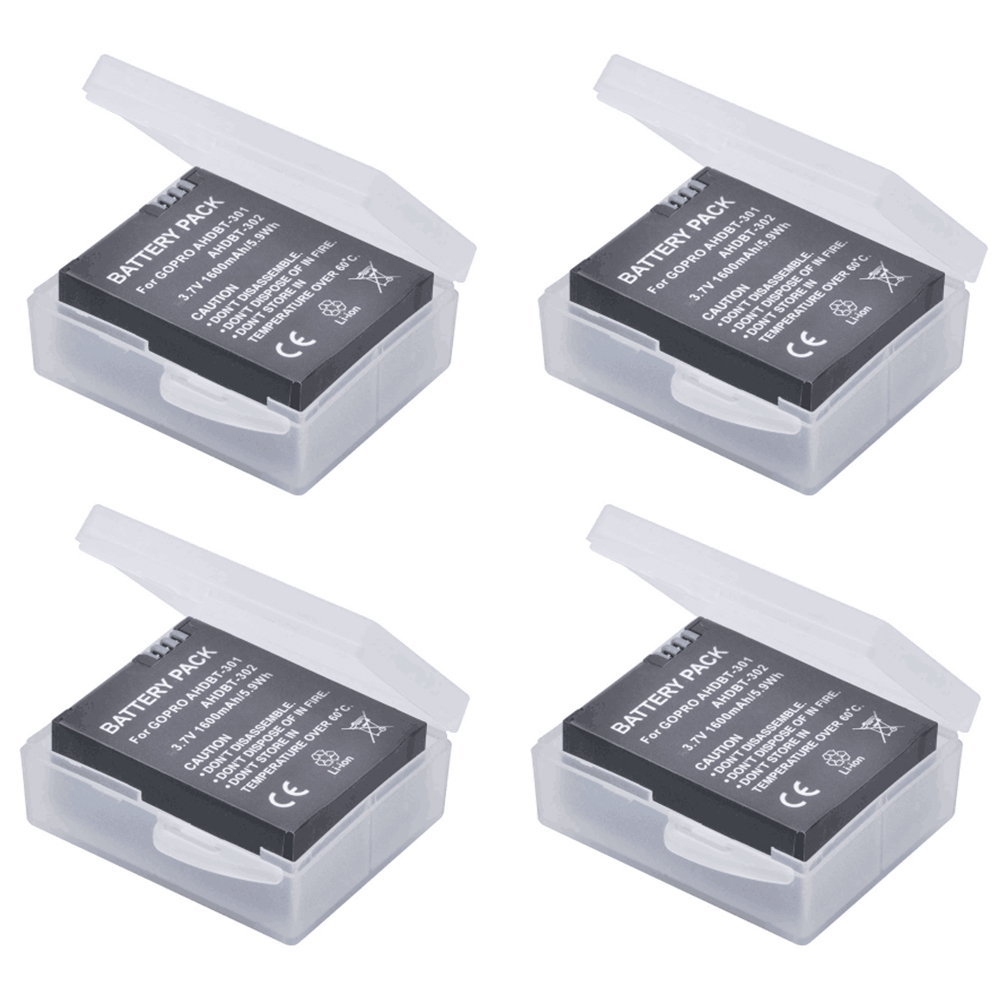 4Pcs 1600mAh GoPro AHDBT-301 Li-ion Battery AHDBT 301 AHDBT301 GoPro HD HERO3/3+ and GoPro AHDBT-201/AHDBT-301/AHDBT-302