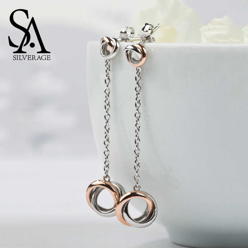 SA SILVERAGE Party okrągły Trendy prawdziwe 925 Sterling Brinco wypadania Dangle kolczyki węzeł miłości Fine Jewelry kobiety Rose 2018 gorąca sprzedaż