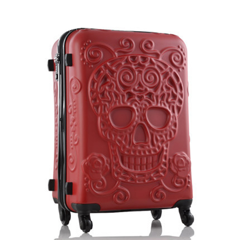 Letrend New Fashion 28inch Britain 3D Skull Print Rolling Luggage Women Troli 19 inci Boarding Box Suitcases Bag Bag Travel