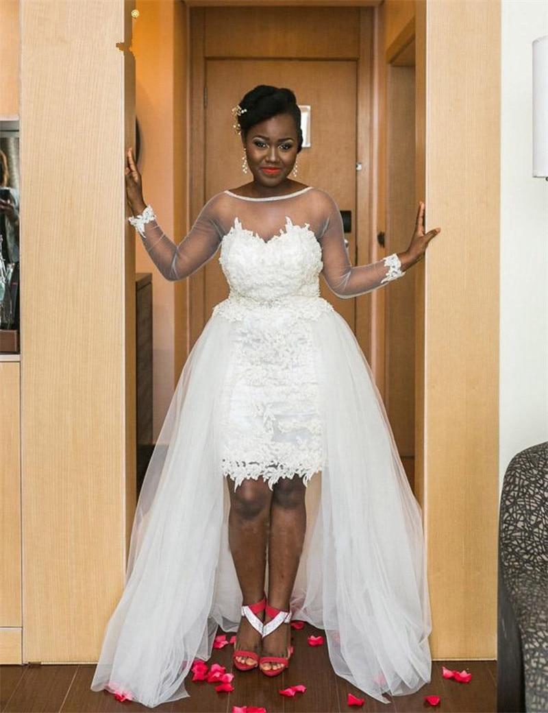 Vestido de noiva 2018 Vintage with Sheer Long Sleeves detachable train Applique Lace Tulle Customize longo Bridesmaid Dresses in Bridesmaid Dresses from Weddings Events
