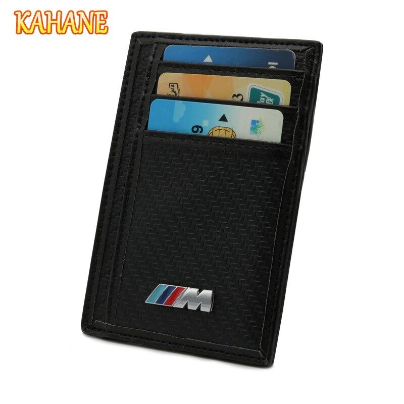 KAHANE Carbon Fiber Men Wallet Car Driver License Bag Credit Card Bag FOR BMW E90 E39 F30 E34 X5 E70 E53 E30 E46 F10 E60 M3 M5 M