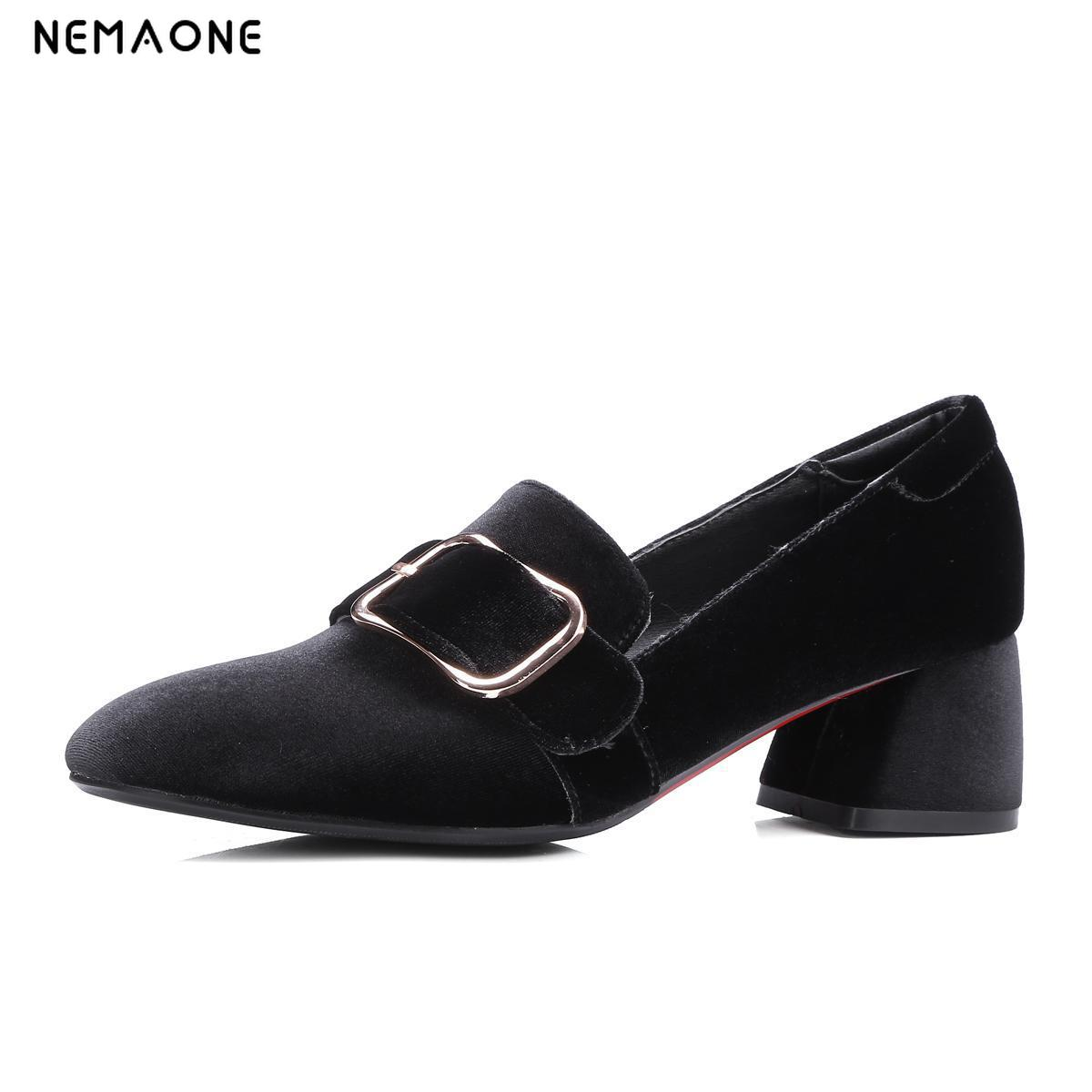 NEMAONE Sexy high Heel Women's Pumps Spring Autumn Square Toe Flock Slip On Female Square Heel Pumps Ladies Single Shoes red spring autumn women s low heel pumps flock plain pointed toe shallow slip on ladies casual single shoes zapatos mujer black