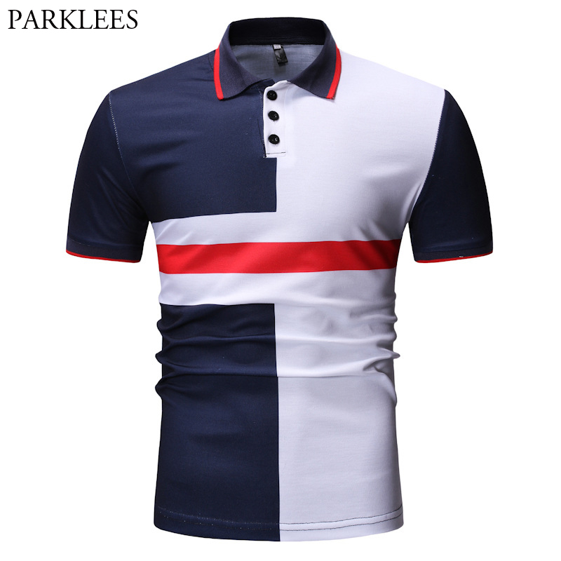 Geometric Patchwork   Polo   Shirt Men 2019 Fashion Short Sleeve Lapel Male Business   Polo   Shirt Plus Size Casual Business   Polo   Homme