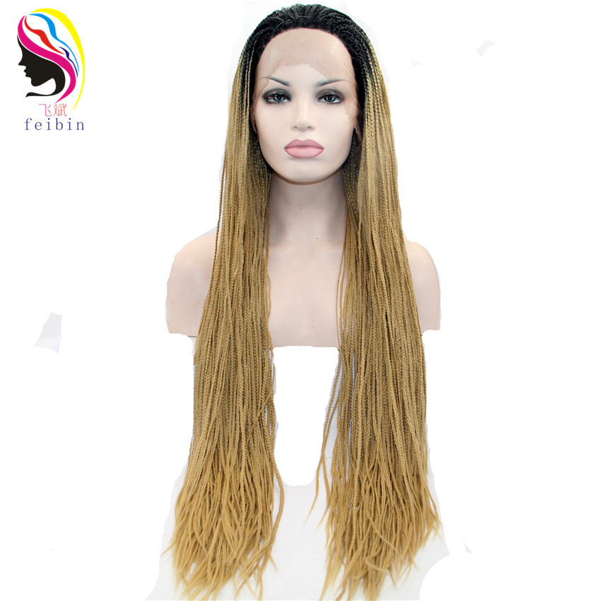 Feibin Caixa Trançado Tranças Peruca Loira Dianteira Do Laço Sintético Perucas Para As Mulheres Afro Cabelo 26 inches 66 cm D56