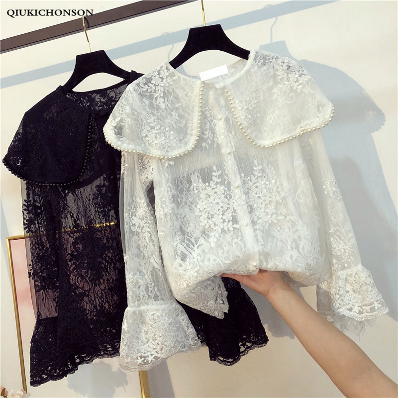 Sweet Lolita Shirt 2019 Mori Girls Autumn Spring Japanese Style Fresh Chic Turndown Collar Long Sleeve Solid Beading Blouse Blouses & Shirts