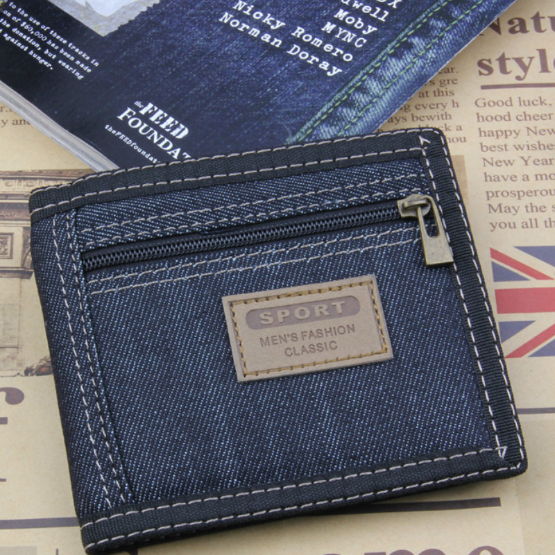 2019 New Vintage Slim Denim Canvas Wallets Women / Men Quality Best Gift For Boyfriend Short Zipper Coin Bag Small  Purses