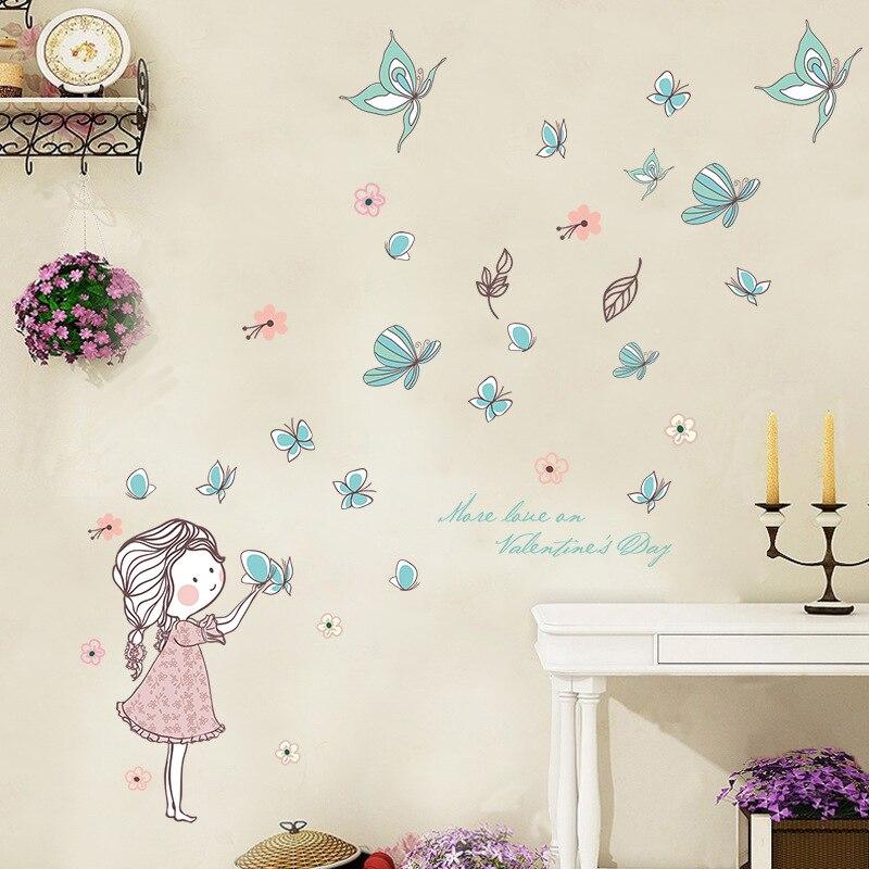 Красивые детства полет бабочки для девочек спальня стикер Красивая маленькая принцесса романтический сад цветок листья wallpape