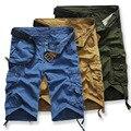 Placa mais recente Moda Camuflagem Shorts de Carga Solta Militar Exército Multi-bolsos Macacão Curto Ocasional Tamanho Grande 29-36 V003