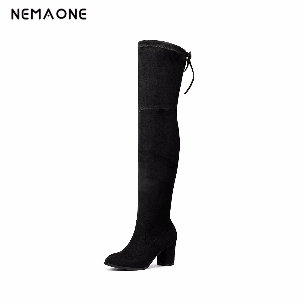 все цены на NEMAONE 2017 New Women Suede Sexy Over the Knee Boots Sexy High Heels Boots spring autumn Women Shoes large size 34-43