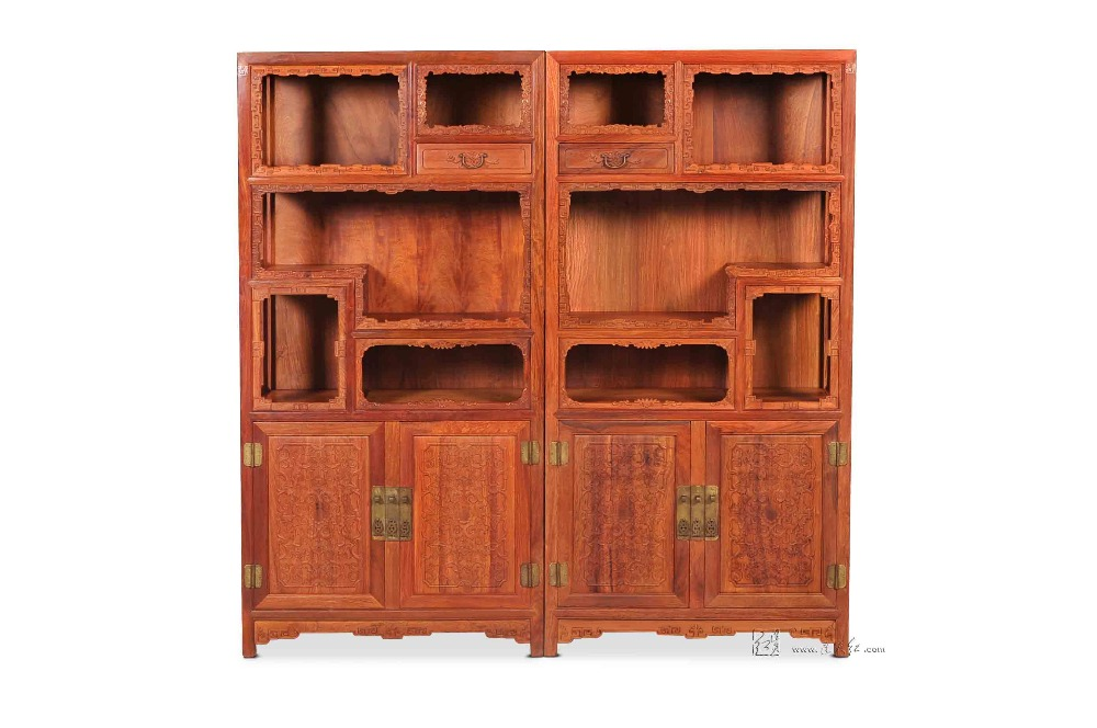 Living Room Furniture Filing Cabinet Solid Wood Bookcase China Antique Rosewood Redwood Magazine Racks Multi-function Shelves
