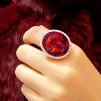 Brilliant Amazing Round Super Big Red Stone Ring Ruby Crystal Ring 18K Gold Plated Cocktail Ring