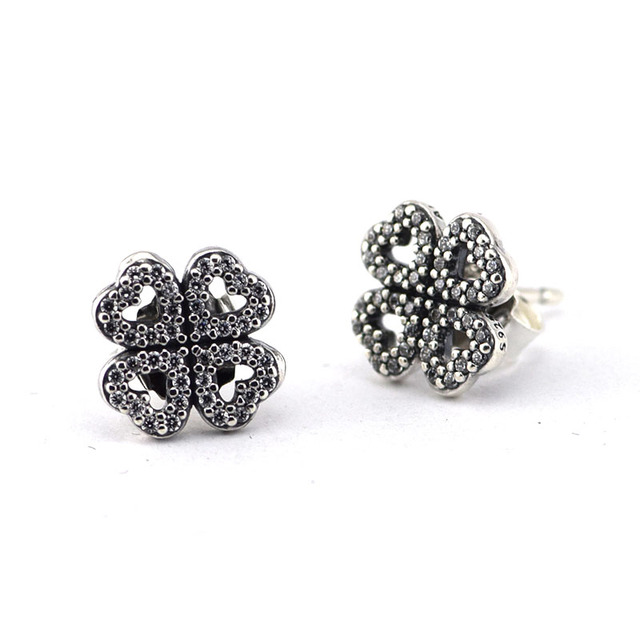 Authentic 925 Silver Petals of Love Stud Earrings for Women Sterling-Silver-Jewelry Wedding Earring With Clear Cubic Zirconia