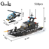 HSANHE 6511 Police Station SWAT Escort Boat Military Series Soldiers 3D Model Building Blocks City Boy