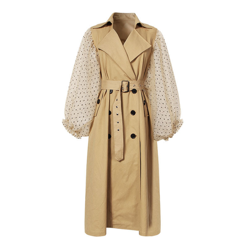 Autumn new Polka Dot mesh patchwork women long   trench   coats Lantern sleeve Double Breasted female   trench   tops gx1218