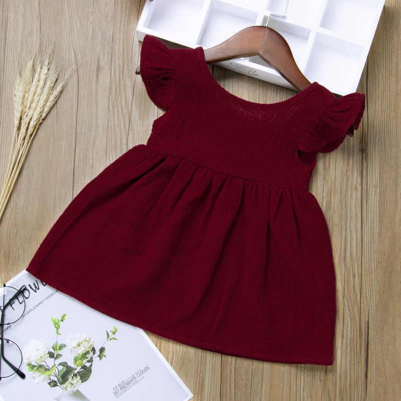 Criança meninas vestido de verão algodão flutter manga bebê vestido vinho vermelho crianças meninas roupas
