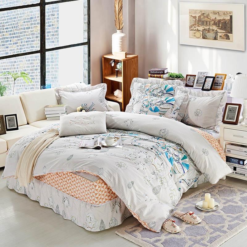 floral print bedding set 4 piece 100 cotton lace duvet