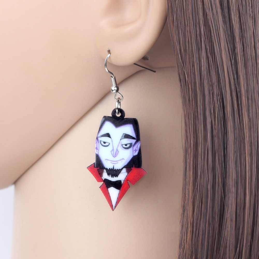 Bonsny Acrylic Halloween Vampire Gentleman Earrings Drop Dangle 2018 Costumes Jewelry For Women Girls Party Charms Decoration