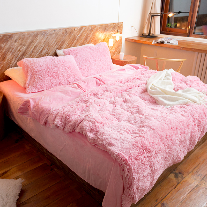 pink bedding duvet sets 4 piece queen size fleece duvet cover bed sheet pillowcase soft upgraded flannel fabrics for bed linen - Flannel Sheets Queen
