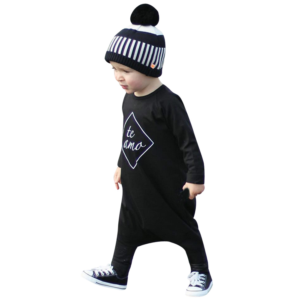 88a3ddda3bc35 Baby Boy Autumn Long Sleeve Black Romper Spring Autumn Romper Newborn Baby  Clothes Letter Printed Jumpsuit 2017 New Fashion