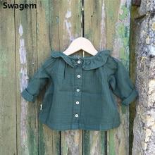 Baby Girl Clothes Spring Long Sleeve Blouse Cute Peter Pan Collar Linen Shirts Ruffle Kids Cotton Tops H0019