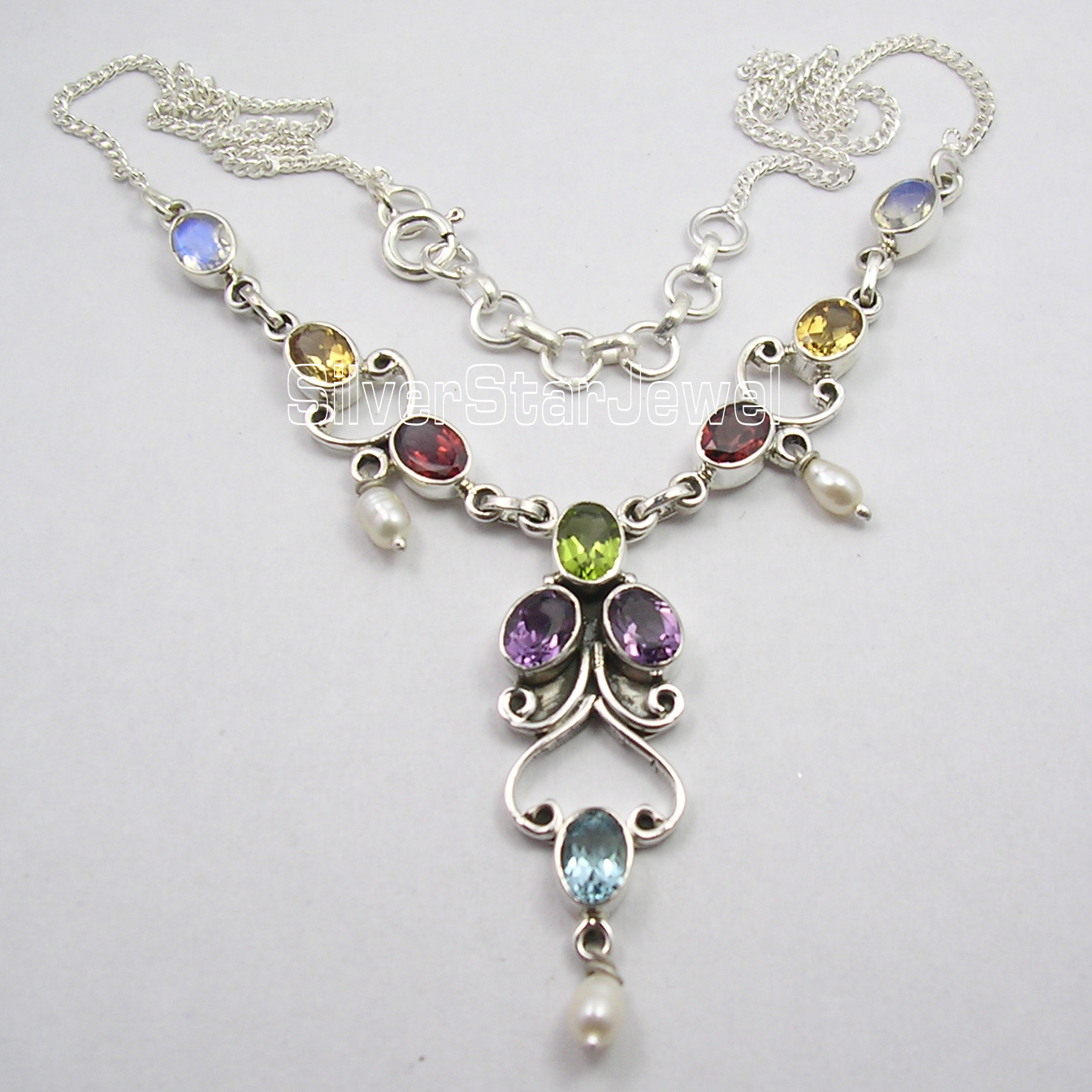 Chanti International Silver Authentic MULTISTONES HANDCRAFTED Necklace 17 5/8 Inches