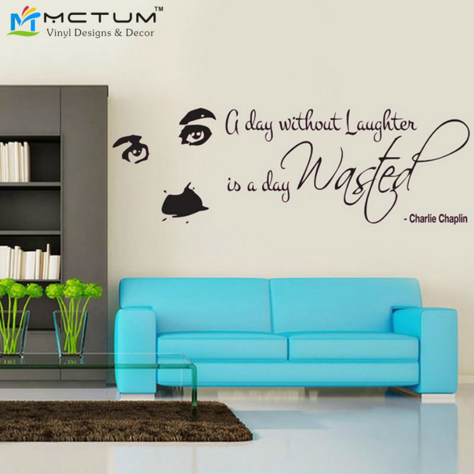 living room vinyl wall art chaplin laughter quotes wall decal sticker wall 23671