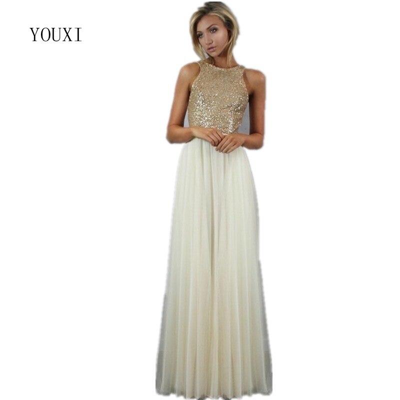 Chiffon Tulle Skirt with Sequin Top Long   Bridesmaid     Dresses   2017 vestido madrinha casamento longo robe demoiselle d'honneur