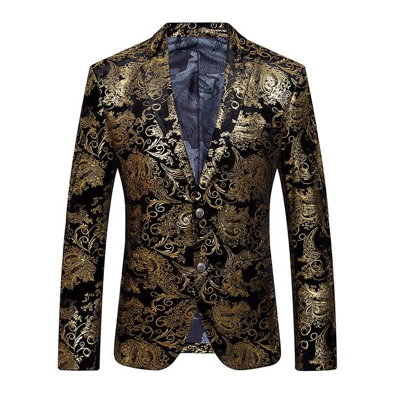 Goud Blazer Mannen Bloemen Casual Slim Blazers 2017 Nieuwe Mode Party Dating Enkele Breasted Mannen sequin Jasje Plus Size M 5XL