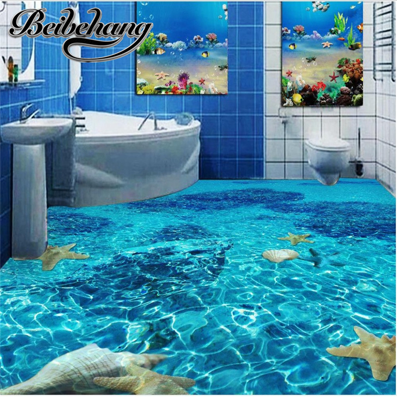 beibehang Customized waterproof anti-skid Beach floor murals in wall stickers 3D floor for living room PVC floor self-adhesive beibehang summer beach floor floor murals wall stickers 3d wallpaper for living room pvc floor self adhesive papel de parede 3d